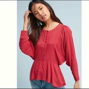 MAEVE | Anthropologie | Chatham Red blouse